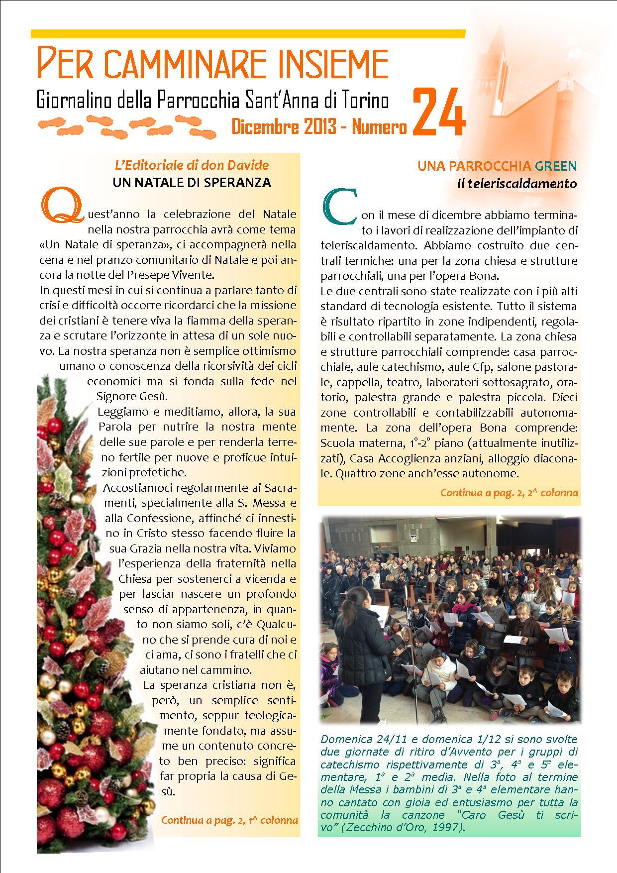 Giornalino parrocchia Sant'Anna Torino - dicembre 2013